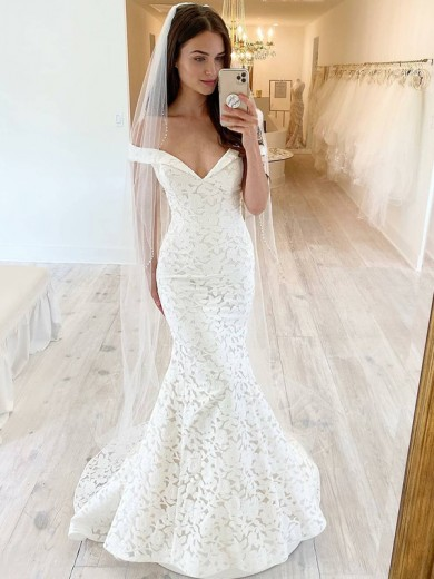 Trumpet/Mermaid Off-the-Shoulder Lace Applique Sleeveless Sweep/Brush Train Wedding Dresses